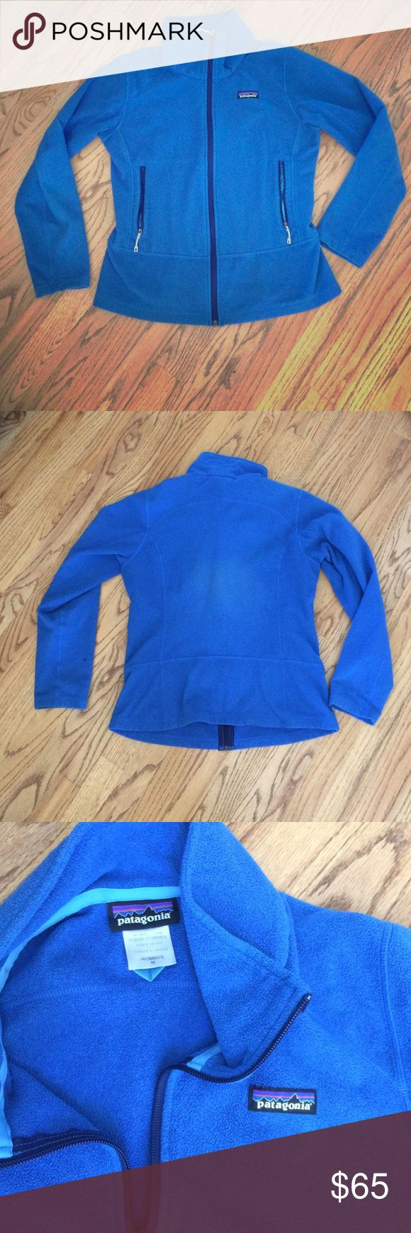 Patagonia fleece jacket Sz M Excellent condition except the tiny hole on left arm.  The pic of back is lighting and NOT a stain/discoloration. Very warm layering piece or for Spring, Summer, Fall.  Color is really pretty - closer to first pic.  True to size; fits up to size 8 possibly small 10.  No trades.  Willing to negotiate but not necessarily going to accept an offer.  Discount for bundles. Please use offer option and not comments.  Thanks! Patagonia Jackets & Coats