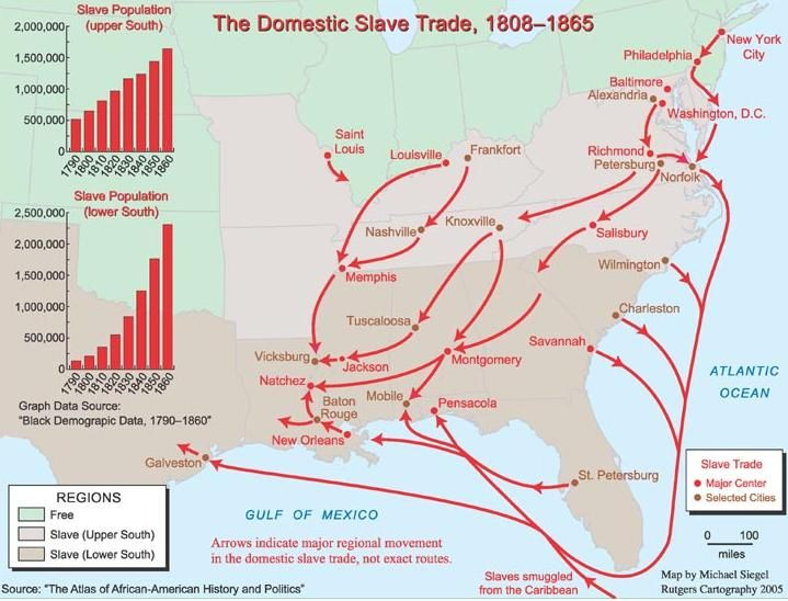 Domestic Slave Trade In The United States - Map of us in 1865