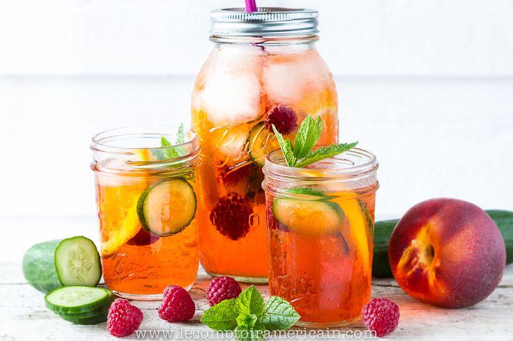 Pimm's in a Mason Jar #Original #Bocal #bocaux #Jar #ball #Mason #madeinUSA #Pimms #cocktail #Lecomptoiramericain #concombre #menthe #mint #cucomber #framboise #raspberry