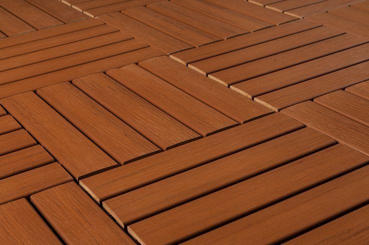 "Interlocking Deck Tiles - Engineered Polymer Series - Premium Resin Deck Tile - Cedar 12""x12""x1"""