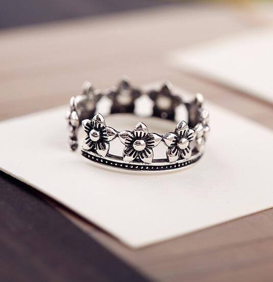 Flor folha de prata Thai anel de dedo indicador de metal juntas de bronze Coréia do sul estilo flor de ameixa anéis para as mulheres jóias menina presente