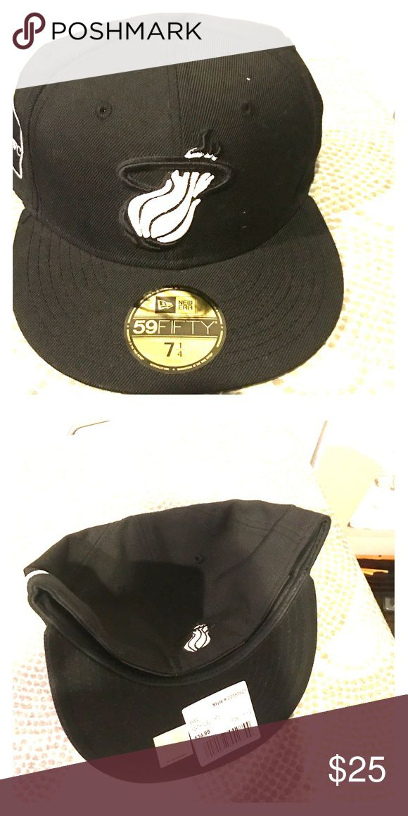 super popular 8eaaf c6460 ... nba snapbacks miami heat fitted 2c2c0 ff16a  promo code for miami heat  fitted cap black and white miami heat fitted hat brand new