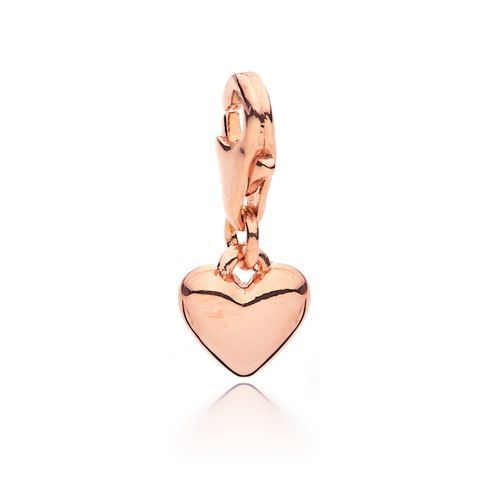 Petite Droplet Heart Charm Rose Gold Plated