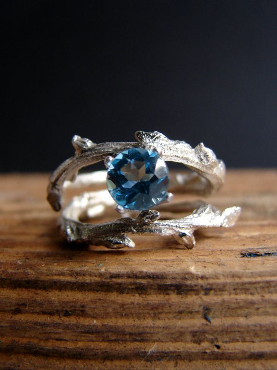 Swiss Blue Topaz Double Twisted Branch Elvish Twig  Ring Organic Jewelry December Birthstone