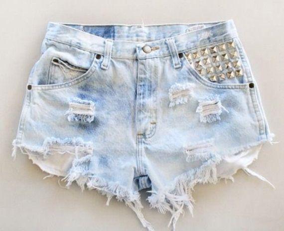 UpCycled Light Wash Disstressed Studded High Waisted Shorts