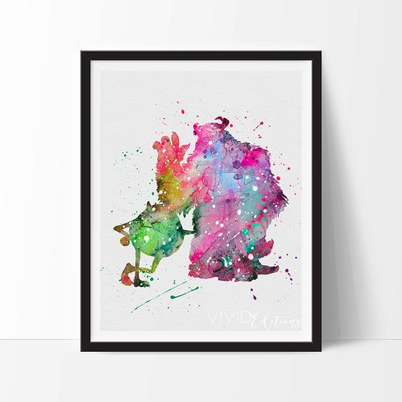 Mike and Sulley Poster, Monsters Inc Disney Watercolor Art Print, Digital Watercolor Art, Childrens Room Wall Art, Minimalist Art, Home or Office
