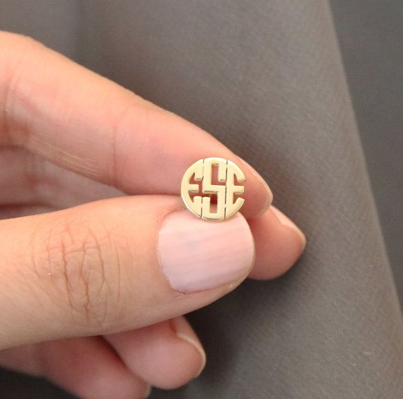 Tiny Gold Monogram Earrings,Initial Earring,Custom Monogram Earring,Personalized Monogram Earring,Mother Jewelry,Graduation Gift