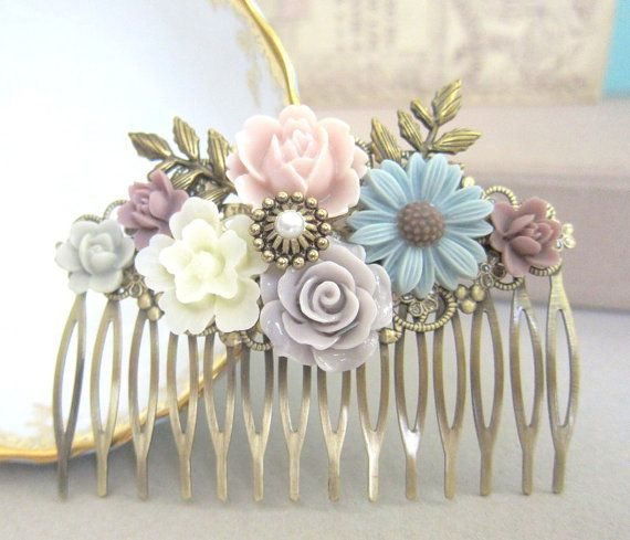 Wedding Hair Comb Pastel Dusty Pink Gray Blue Plum Purple Flower Head Piece Bridal Floral Hair Pin Bridesmaid Gift Autumn Fall Colors PM
