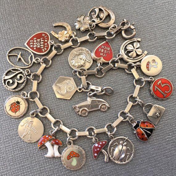 Antique Vintage Silver Enamel Charm Bracelet. Rare 1900's Art Deco & Art Nouveau Lucky 7, 13, Ladybug, Heart, Mushroom, Clover, Angel Charms