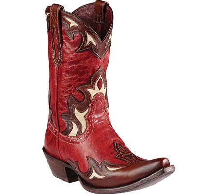 """Ladies Cowboy Boots """"Reina"""" Red Appy Distressed Leather Ladies Cowboy Boots."""