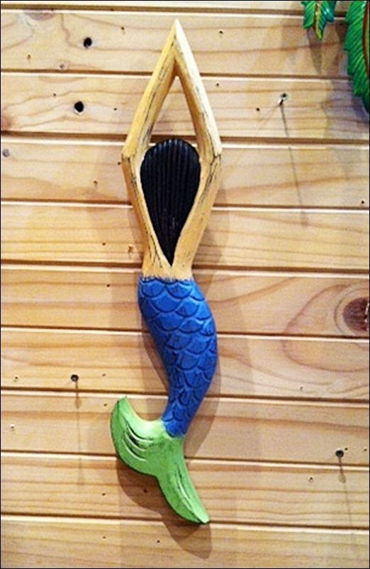 Little Mermaid swimmer wooden 50cm Beach House & Garden Pool Spa Deck Bathroom