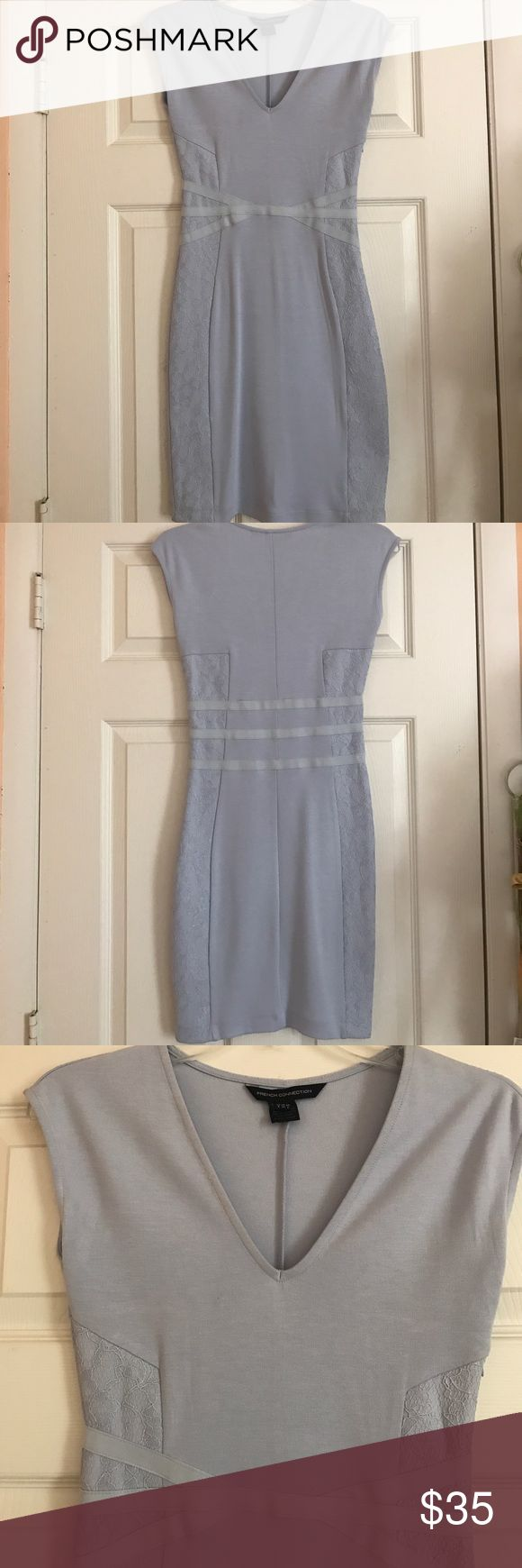 "FRENCH CONNECTION BODYCON DRESS Light blue bodycon dress with lace and banded detailing; cap sleeves with a ""V"" in the front; worn only once and in excellent condition; Brand: French Connection; Size: UK-6, FR-34, US-2 French Connection Dresses"