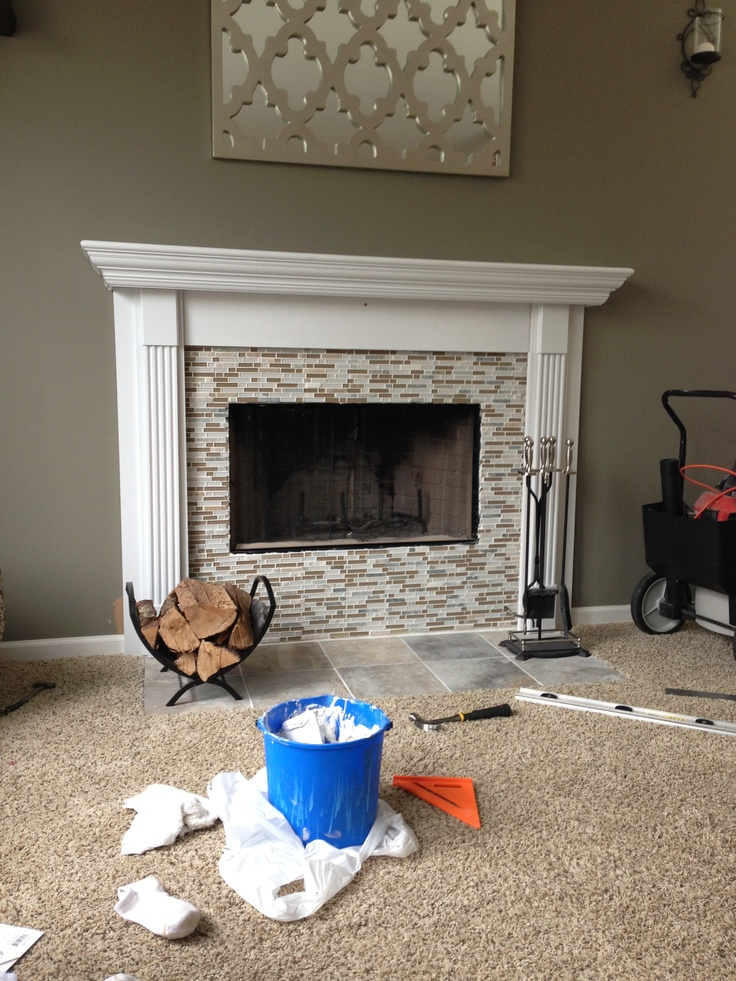 diy fireplace mantel with mosaic tile basement ideas