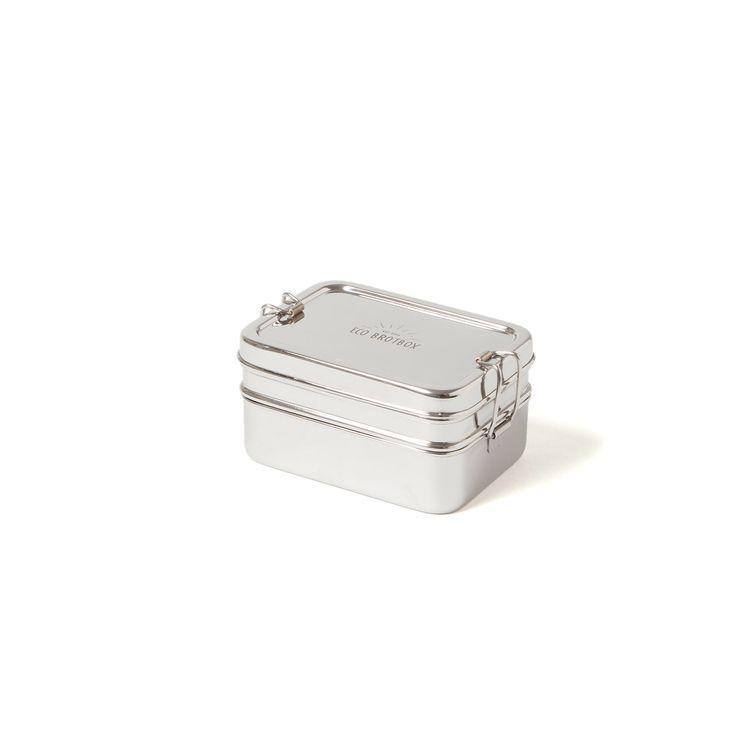 Zweilagiger Behälter mit Klippverschluss und separater Snackbox aus Edelstahl