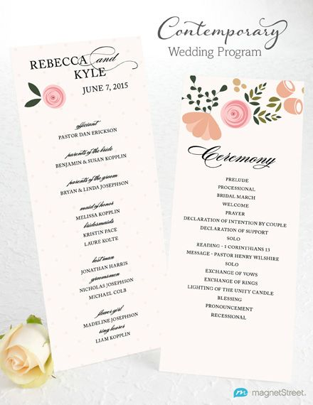 Contemporary Wedding Program Wording Template from MagnetStreet