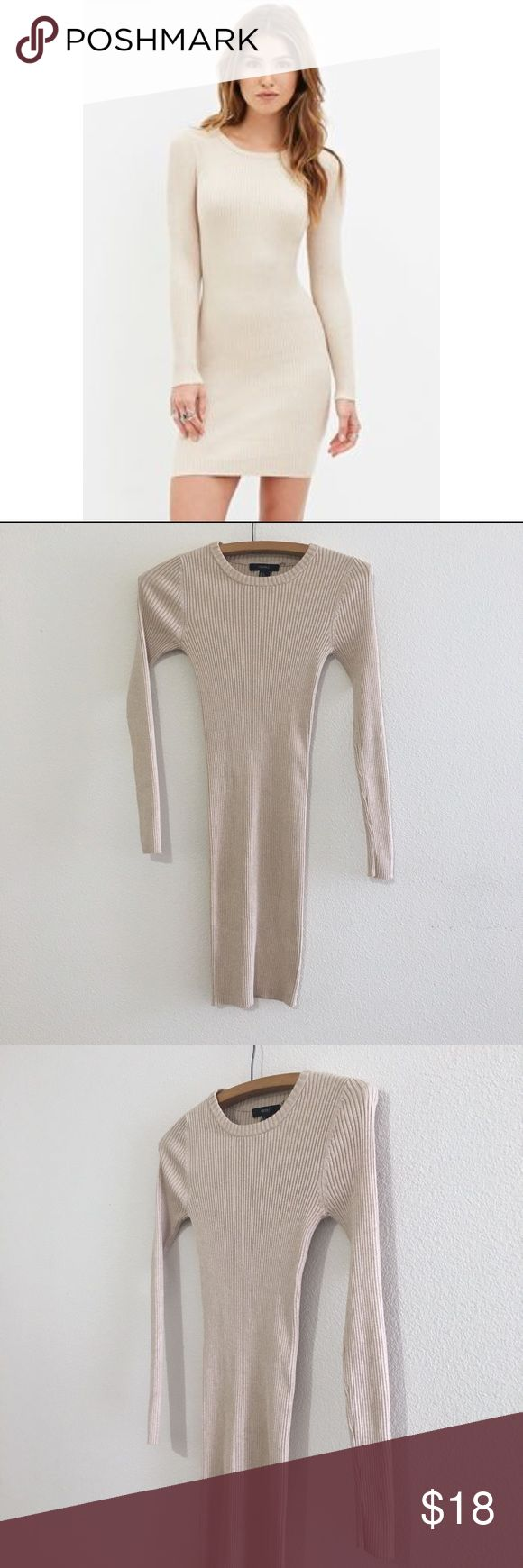 """Forever 21 Long Sleeve Ribbed Knit Bodycon Dress Forever 21 Long Sleeve Ribbed Knit Bodycon Dress. Light tan.  Model pic is a little lighter - same dress different color   Size: Small About 33"""" length (top shoulder to bottom)  Good pre loved condition.   Bundle fav items for a personal discount. Offers are always welcome, too! No trades. Thank you! (34)  Tags: back to school, college, high school, on trend, trendy, date night, girls night, fall, casual, sexy, F21 Forever 21 Dresses Long…"""