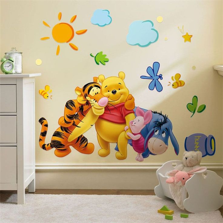 US $1.76 -- AliExpress.com Product - Winnie the Pooh friends wall stickers for kids rooms decorative sticker adesivo de parede removable pvc wall decal