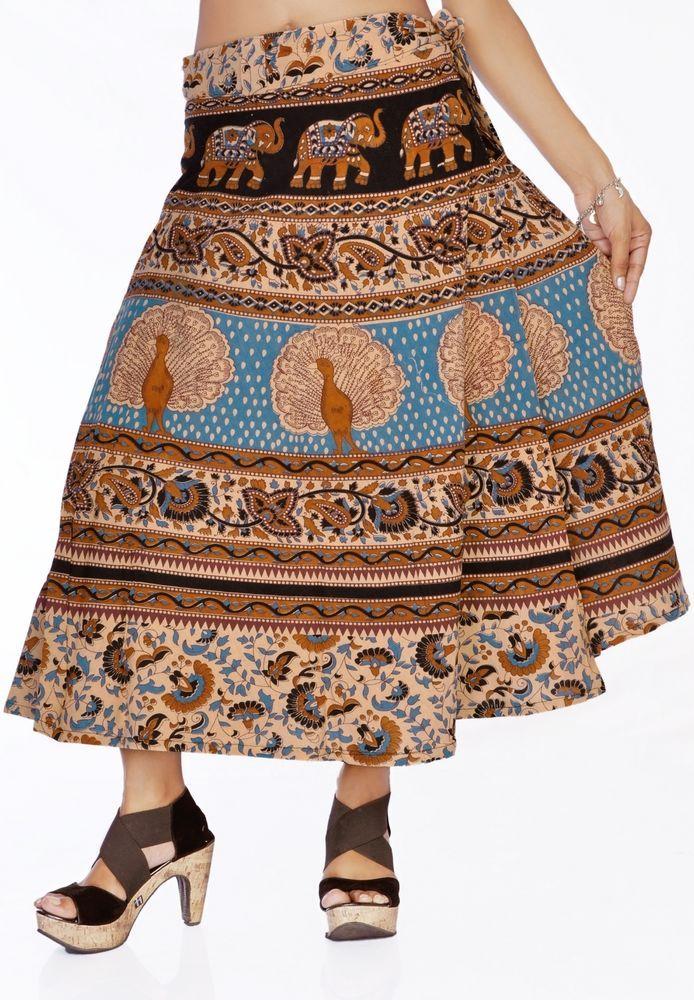 Women Stylish Rajasthani Blue Peacocks Printed Wrap Around Cotton Skirt #Handmade #Skirt