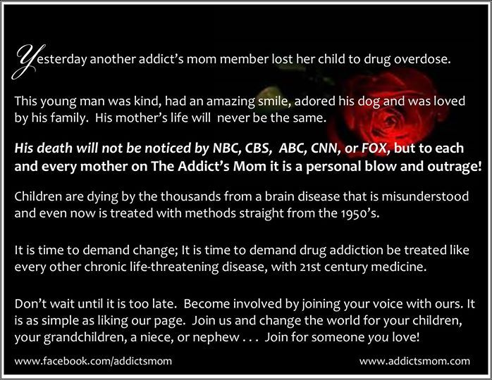 Another tragic loss of an addict's mom members beautiful child. Our voices need to be heard!