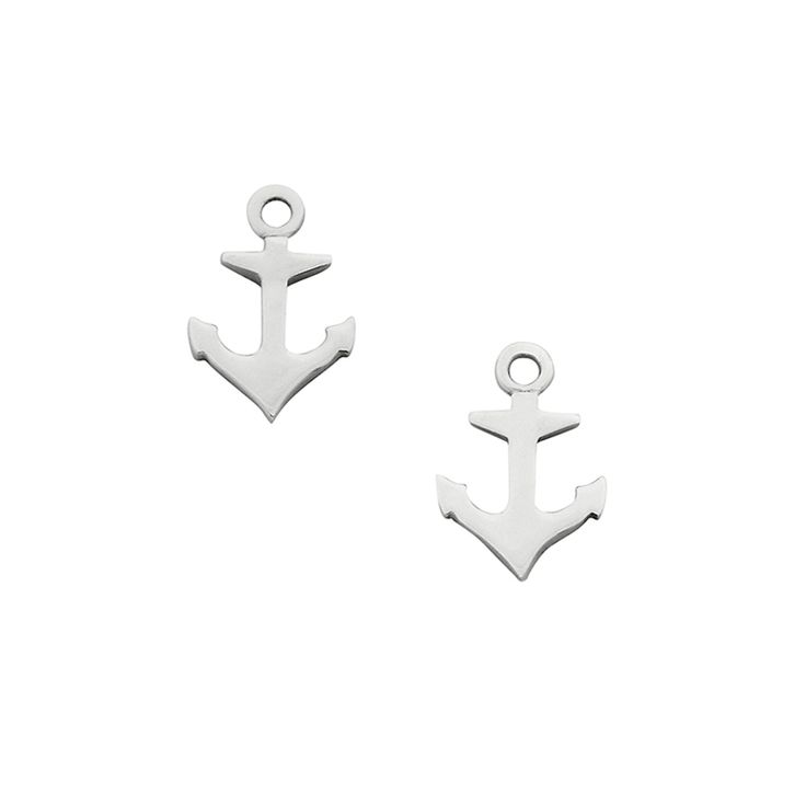 Mini Anchor studs - $59. Post and back stud earring pair with small, detailed cutout anchor feature. KW and 925 stamped on the back of one earring. Lovingly created by New Zealand clothing and accessories designer label Karen Walker. www.savethelastpinker.com.au/shop/mini-anchor-studs/