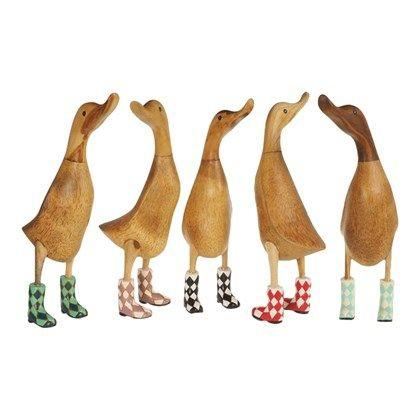 Ænder med gummistøvler - Flotte træænder med Harlekin tern på støvler