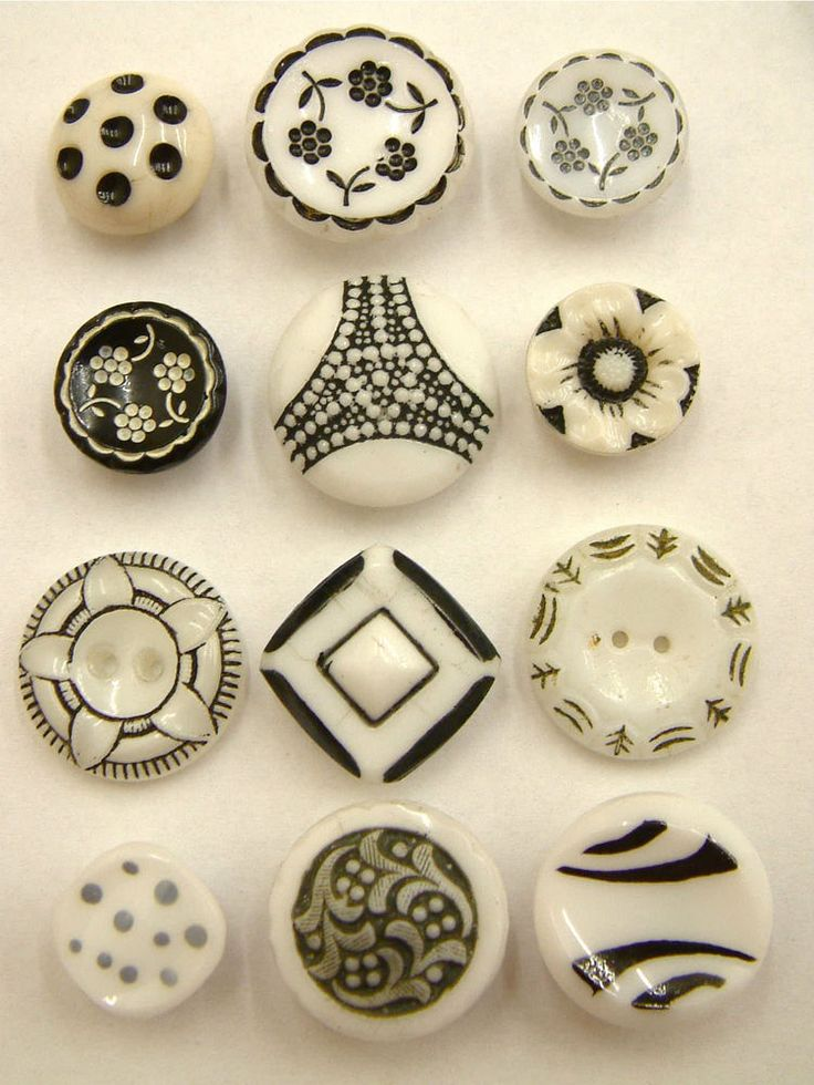 12 Vintage/Antique Black & White Glass and China Buttons