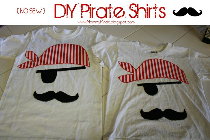 DIY Pirate Shirts - NO SEW.   For the little ones! May have to make Jayce on of these for Gasparilla