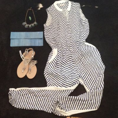 Outfit: Earn your stripes. Where I wore it: The Royal Croquet Club (pop-up), Melbourne, December 2015. Items: OnceWas striped jumpsuit [OnceWas]. Beaded sandals [Witchery, 2014]. Blue eelskin clutch. Beaded necklace [Anthropologie]. Turquoise ring [vintage, purchased in New Mexico, USA]