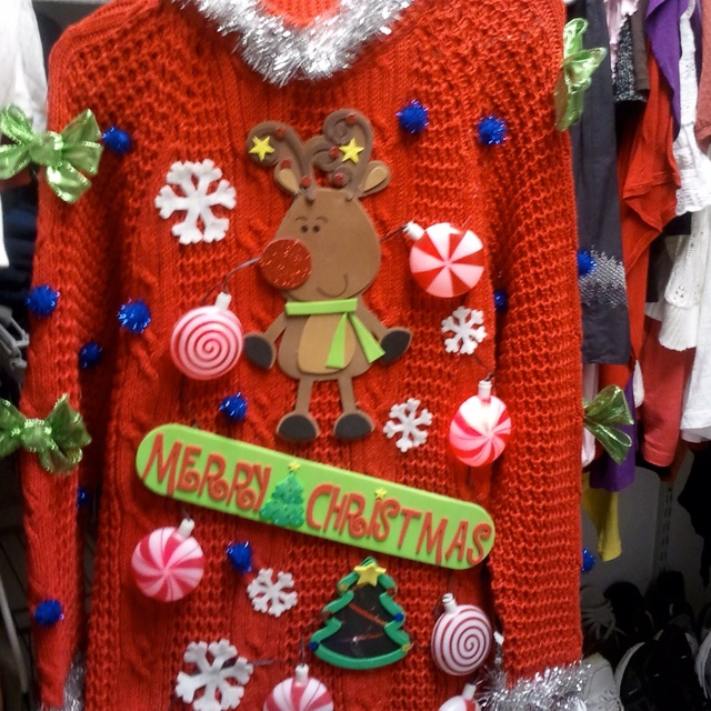 This one's a beauty! Crafty ugly Christmas sweater.Needing ideas for a FUN