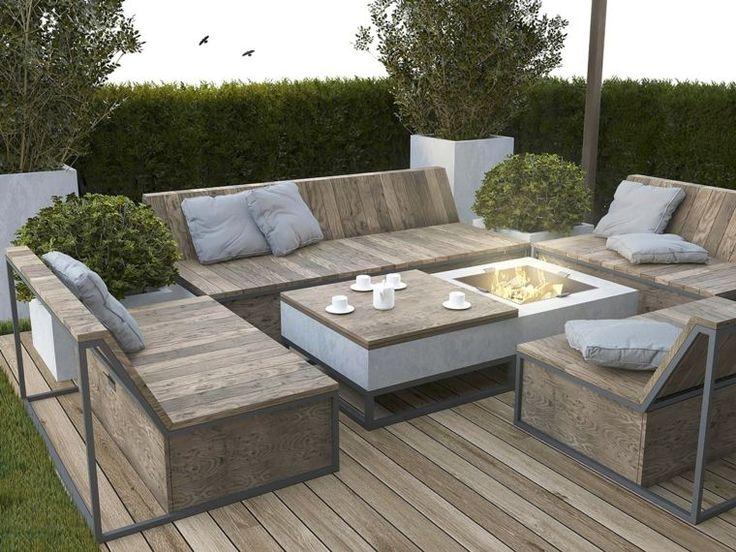 terrasse en bois avec salon de jardin en bois moderne