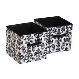 Elegant Damask Storage Cubes   Set Of 2 In Black And White By Room.