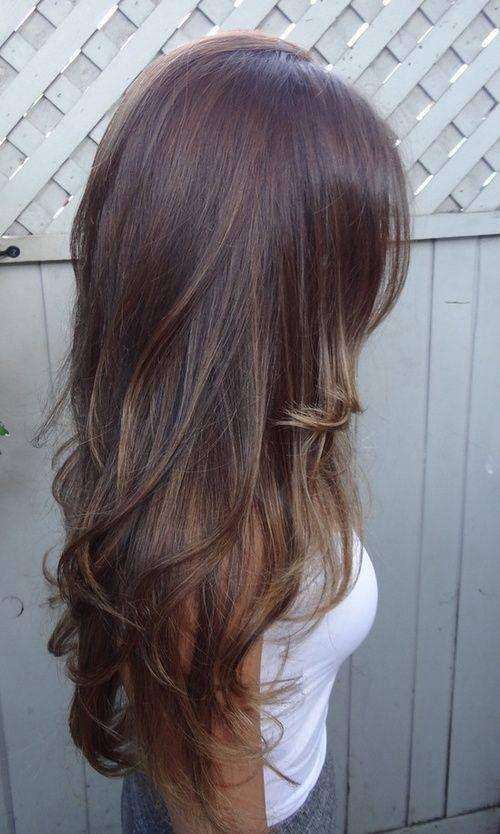 Beautiful long brown highlighted wavey hair!