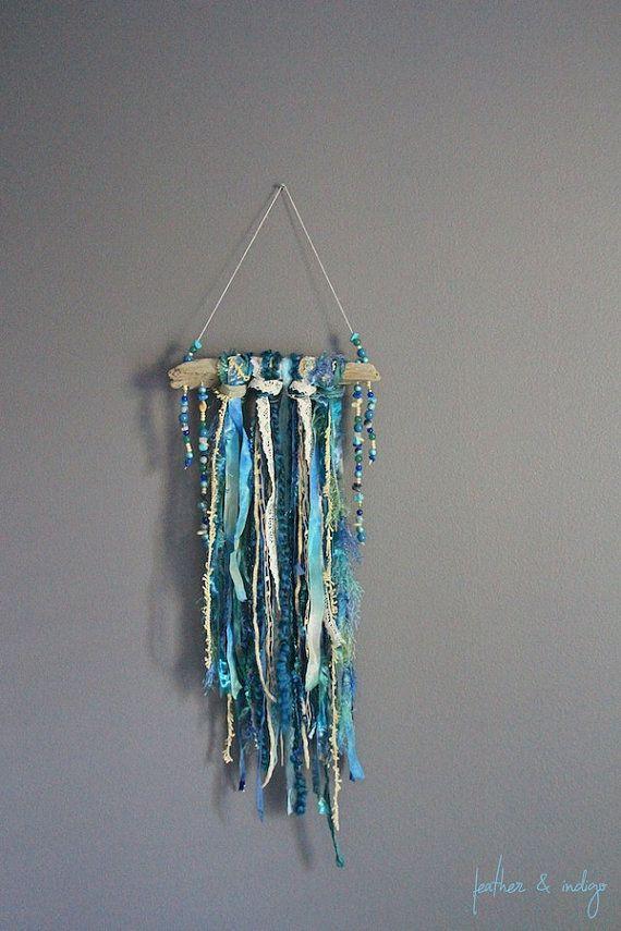 Teal blue wall decor driftwood art textile by FeatherAndIndigo