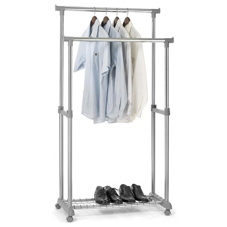 Superb Garderobenwagen GROSSO Kleiderst nder Rollgarderobe Garderobenst nder mit Schuhablage Kleiderstangen h henverstellbar Metallrohr verchromt