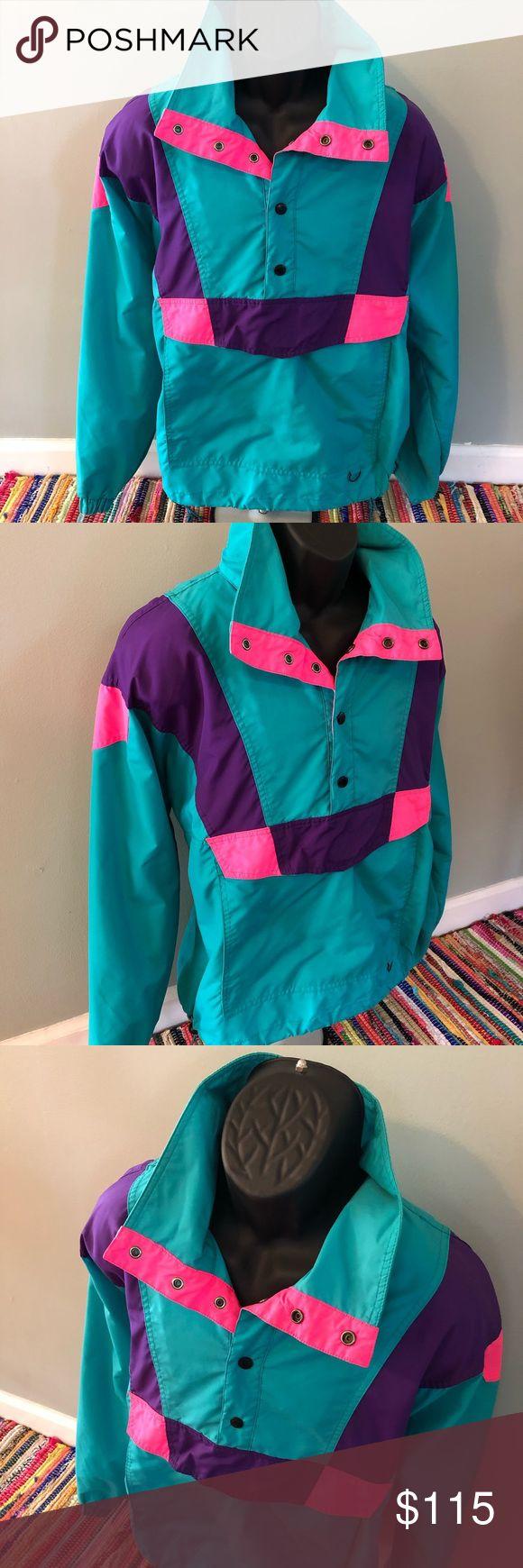 80s neon 80s Neon Ski Jacket Snow Winter Coat Vintage