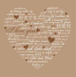 Trouwkaart met hart van 'I love you' in meerdere talen. Kies de kaart, pas de tekst aan en vraag een gratis proefdruk op (je betaalt zelfs geen verzendkosten!). http://www.trouwpost.nl/trouwkaarten/hartjes/