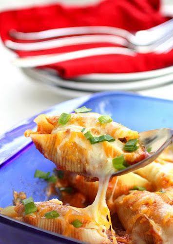 Mexican Ground Beef Stuffed Shells _ Top with green onions or olives