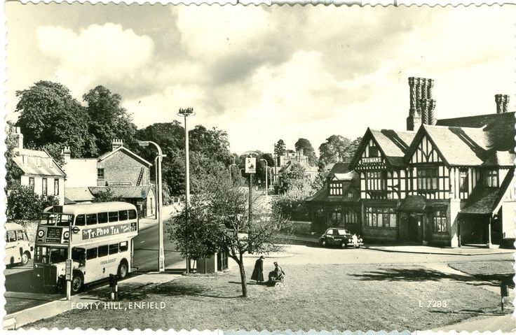 Forty Hill, Enfield RP  London Bus, Trumans brewery Goat pub