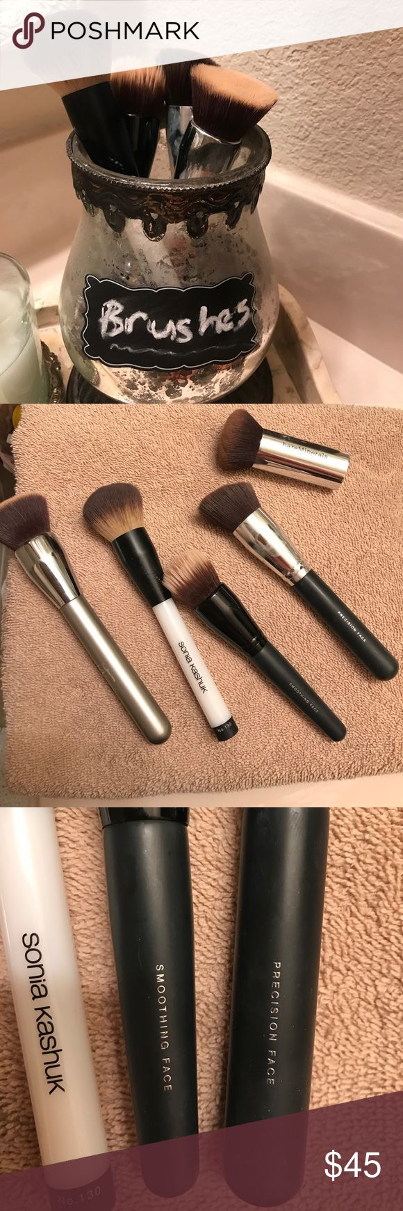 Set of 5 makeup brushes BareMinerals precision face brush; BareMinerals smoothing face brush; Sonia kashuk no 130 powder brush; it cosmetics brushes for ulta airbrush finish brush; BareMinerals seamless buffing brush bareMinerals Makeup Brushes & Tools