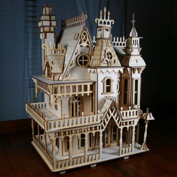 Contrachapado de abedul de casa de muñecas victoriana Laser Cut Kit 2