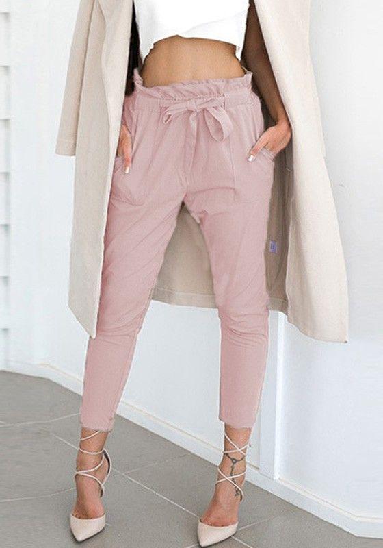 Pantalons longue avec noeud papillon ceinture taille haute mode élégant  rose femme - Pantalon - Bas 2587893b191