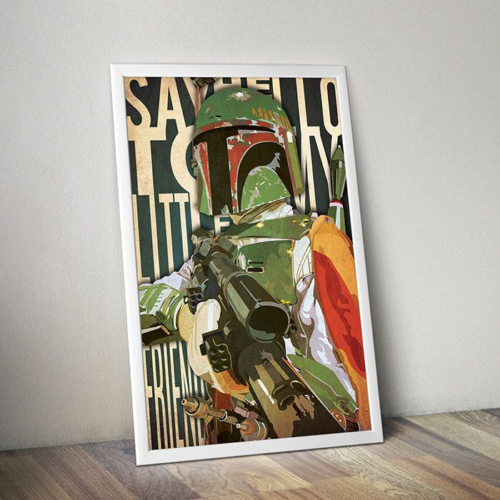 Star Wars poster Boba Fett poster Scarface alternative poster Star Wars Empire Strikes Back Tony Montana quote Say Hello To My Little Friend by TheCelluloidAndroid on Etsy https://www.etsy.com/listing/207306263/star-wars-poster-boba-fett-poster