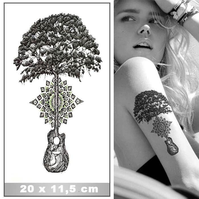 Tatouage Ephemere Arbre Et Guitare Enracine Www Tattoo Ephemere Fr