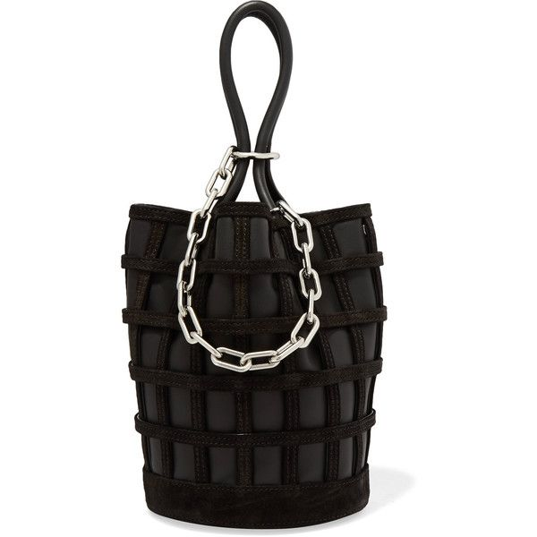 Alexander Wang Roxy Cage chain and suede-trimmed leather bucket bag ($670) ❤ liked on Polyvore featuring bags, handbags, shoulder bags, black, leather bucket purse, leather shoulder handbags, bucket bag, leather purses and bucket bag purse