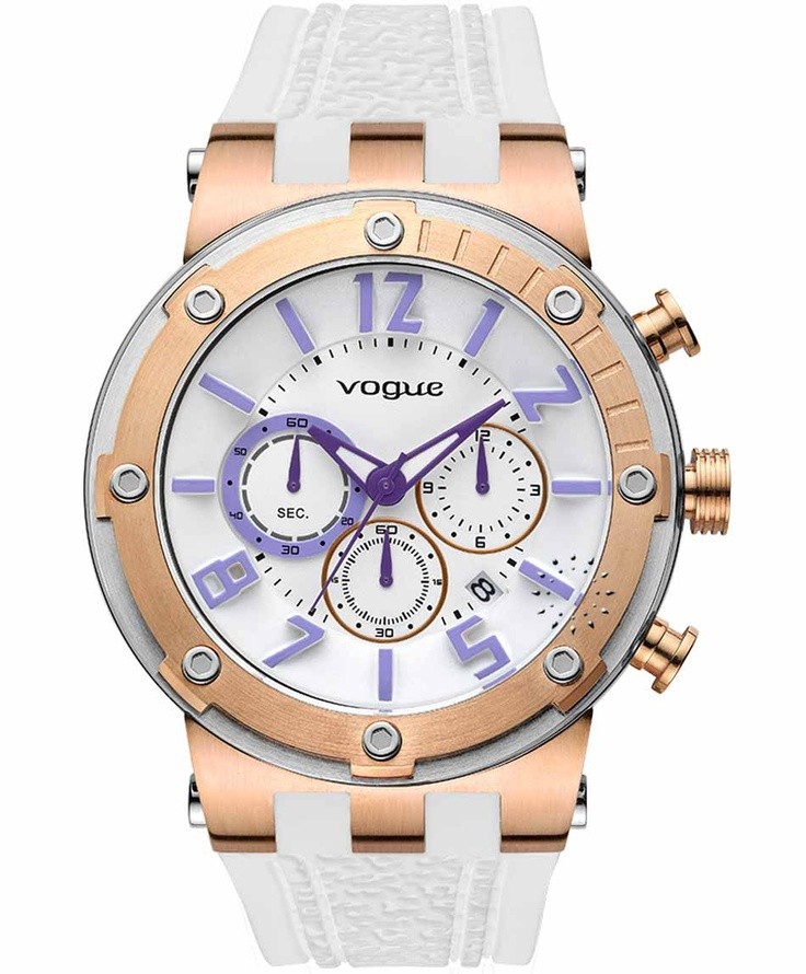 VOGUE Feeling Rose Gold Chrono White Rubber Strap  Τιμή: 215€  Αγοράστε το εδώ:  http://www.oroloi.gr/product_info.php?products_id=31603