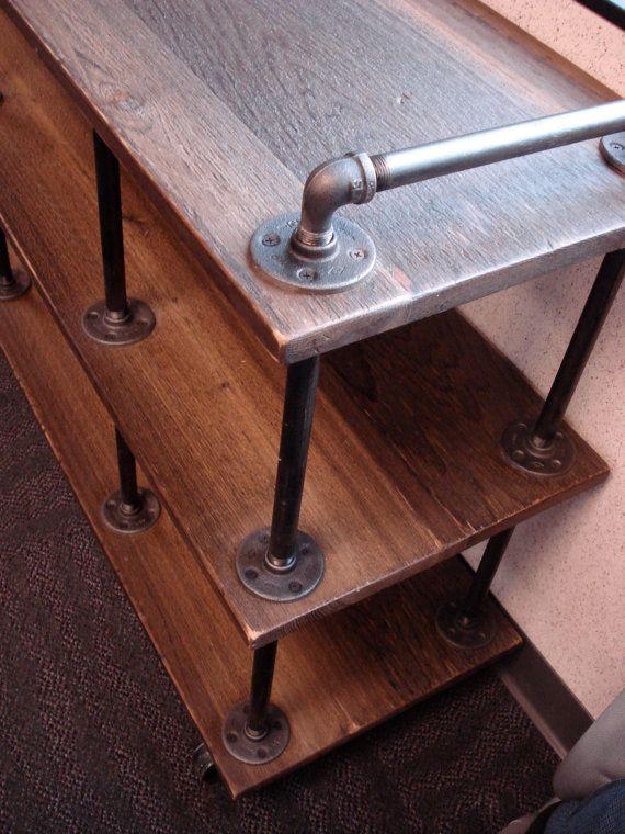 Industrial TV Stand Iron and Wood for 46 to 52 door RetroWorksStudio