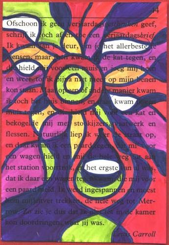Toegevallen gedicht - Het kwam, Altered books, book art, altered pages, boekkunst, bookart, boeksel, boeksels, boekselen