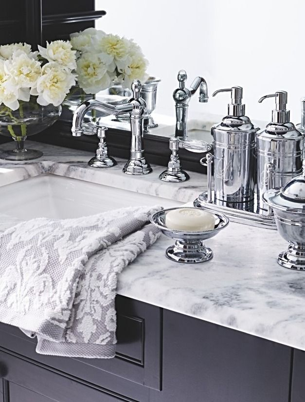 Inspired by a vintage mint julep cup that we thought was much too pretty for a once-a-year indulgence, our Maison Countertop Collection brings that elegance into the bath.