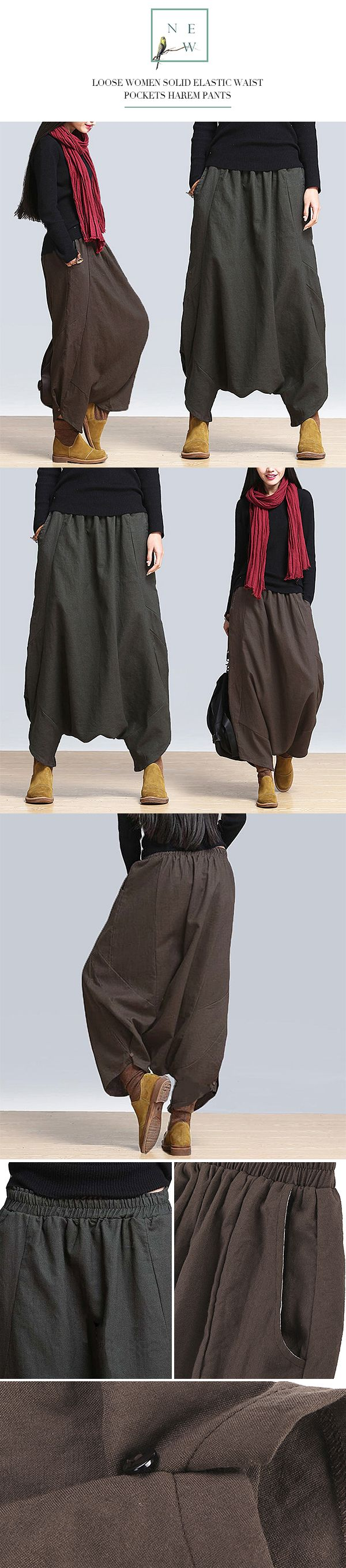 fashion collocation~ US$26.56 Loose Casual Solid Elastic Waist Pockets Harem Pants For Women