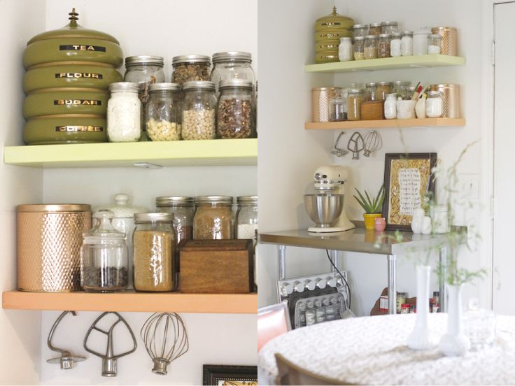 Kitchen overflowing? Create a simple baking center in your own house with diy shelves, vintage tins, and mason jars